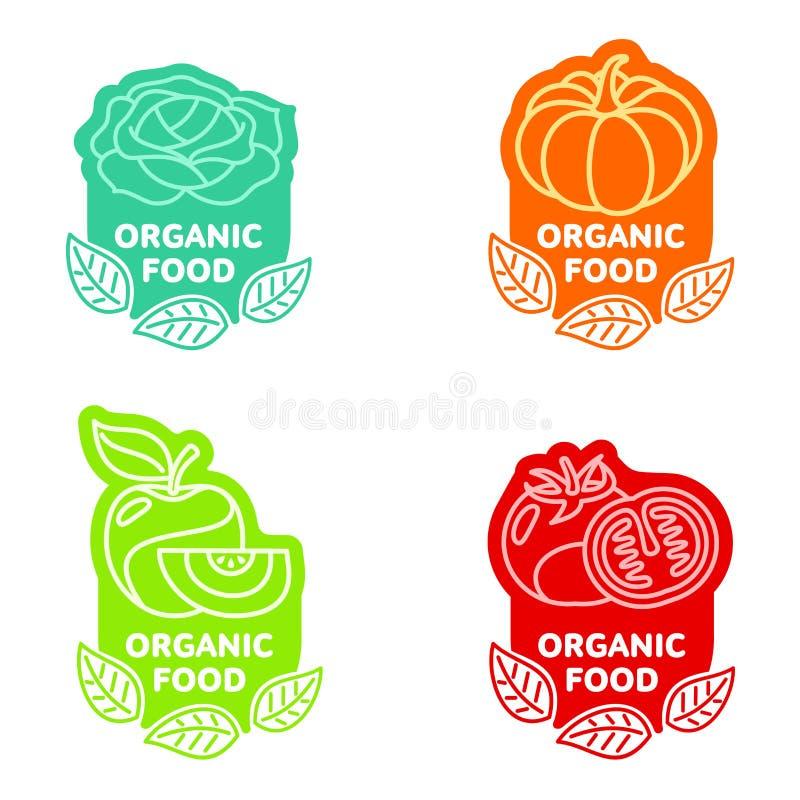 Sistema de plantillas del logotipo de la fruta y verdura del alimento biológico libre illustration