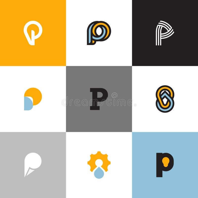 Sistema de plantillas del logotipo de la letra P con descenso y la bombilla stock de ilustración