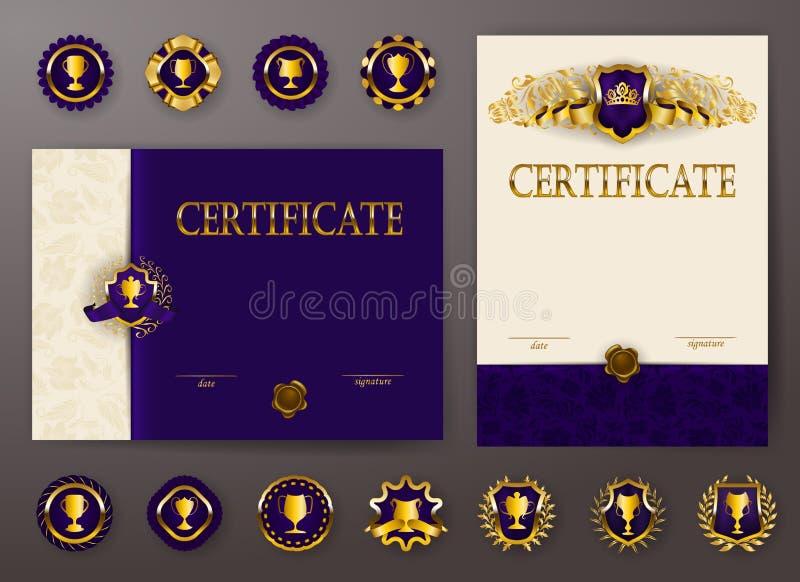 Sistema de plantillas elegantes del diploma con el ornamento del cordón, cinta, sello de la cera, tela de la pañería, insignias,  ilustración del vector