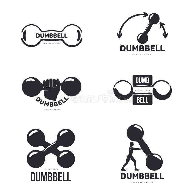 Sistema de plantillas gráficas blancos y negros del logotipo de la pesa de gimnasia libre illustration