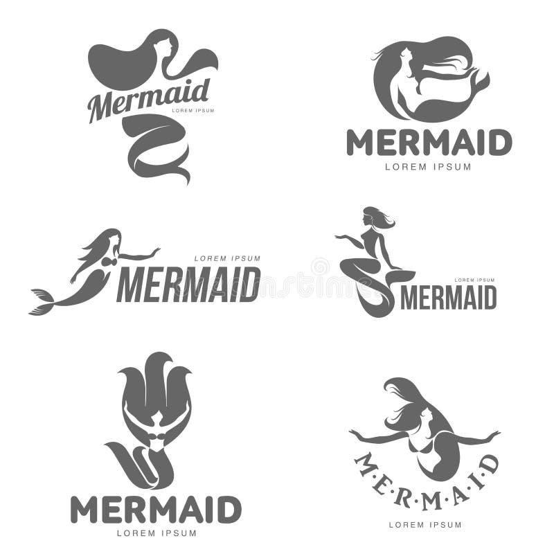 Sistema de plantillas gráficas blancos y negros estilizadas del logotipo de la sirena stock de ilustración