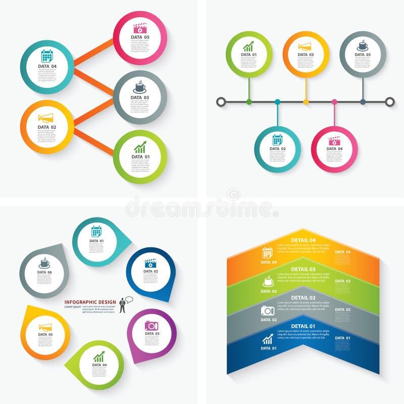 Sistema de plantillas infographic stock de ilustración