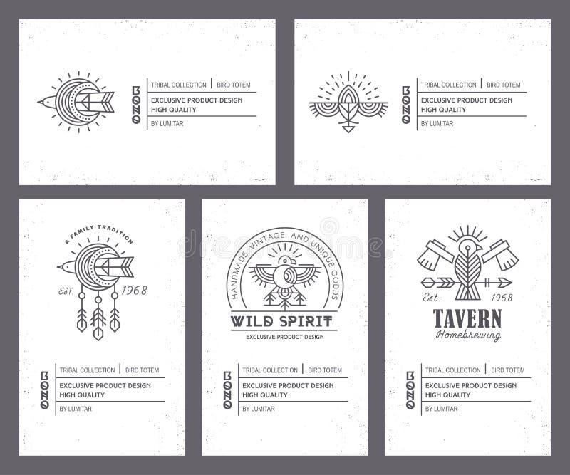 Sistema de plantillas de la tarjeta del vintage en estilo bohemio único con los elementos arcaicos ilustración del vector