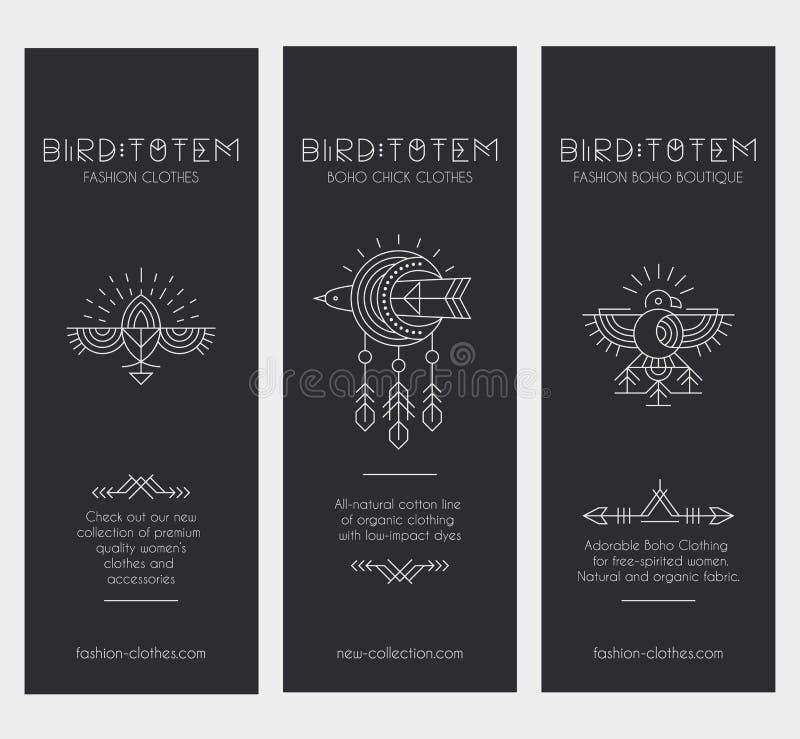 Sistema de plantillas de la tarjeta del vintage en estilo bohemio único con los elementos arcaicos libre illustration