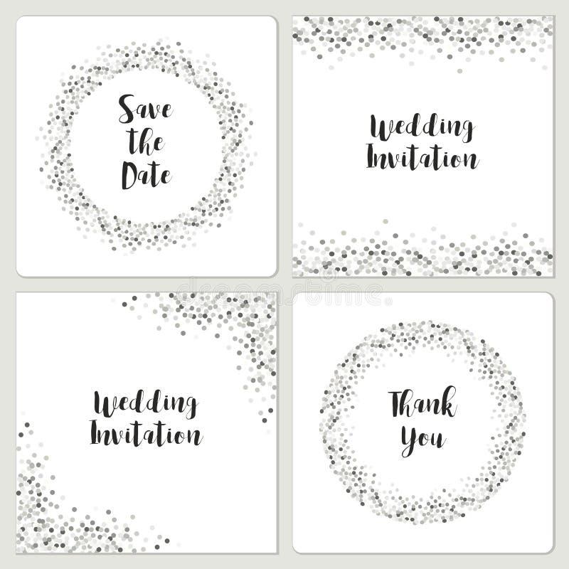 Sistema de plantillas de lujo de la invitación de boda con el confeti de plata del brillo libre illustration