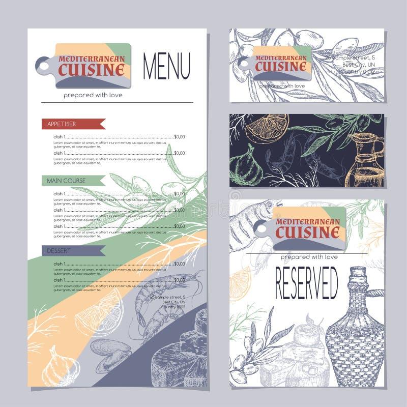 Sistema de plantillas mediterráneas del menú del restaurante de la cocina stock de ilustración