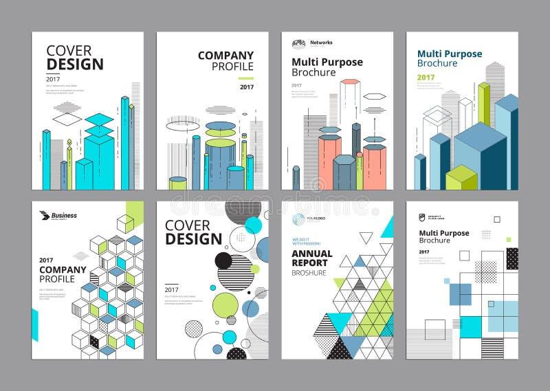 Sistema de plantillas modernas del diseño del documento comercial ilustración del vector
