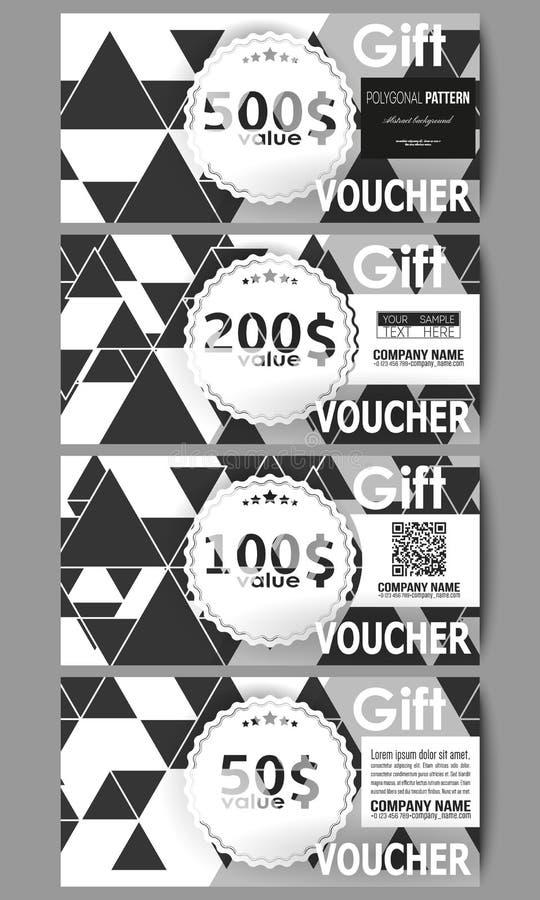 Sistema de plantillas modernas del vale de regalo Modelo triangular del vector Triángulos negros abstractos en el fondo blanco stock de ilustración