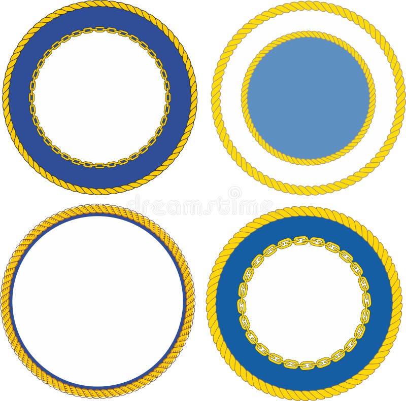 Sistema de plantillas navales redondas de la cresta del emblema stock de ilustración