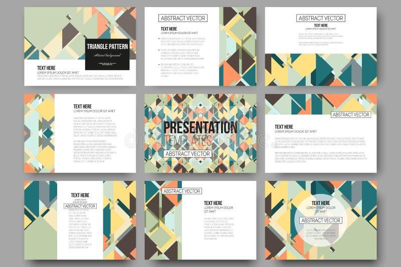 Sistema de 9 plantillas para las diapositivas de la presentación Diseño material Fondo coloreado del vector stock de ilustración