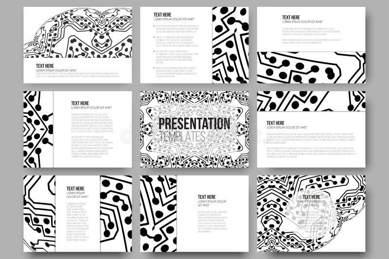 Sistema de 9 plantillas para las diapositivas de la presentación Fondo abstracto del microchip, diseño electrónico científico stock de ilustración
