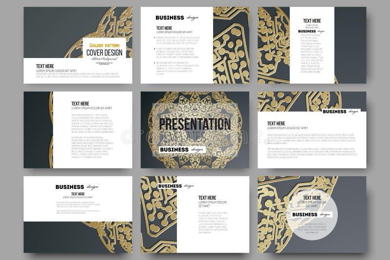 Sistema de 9 plantillas para las diapositivas de la presentación Modelo de oro del microchip en fondo oscuro con los puntos y las libre illustration