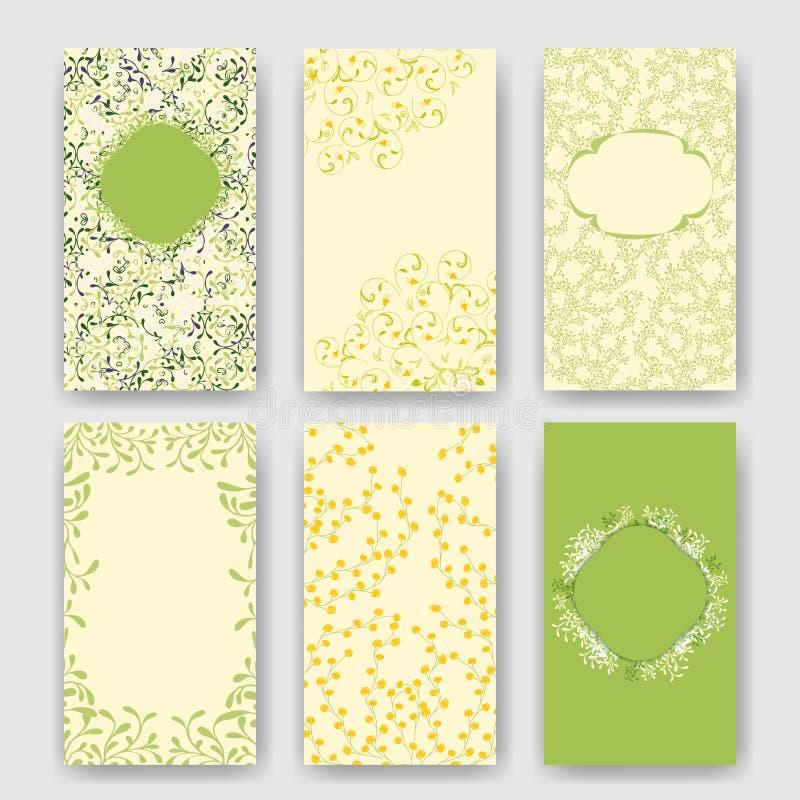 Sistema de plantillas perfectas de la boda con tema floral verde Ideal para la reserva la fecha, fiesta de bienvenida al bebé, dí ilustración del vector