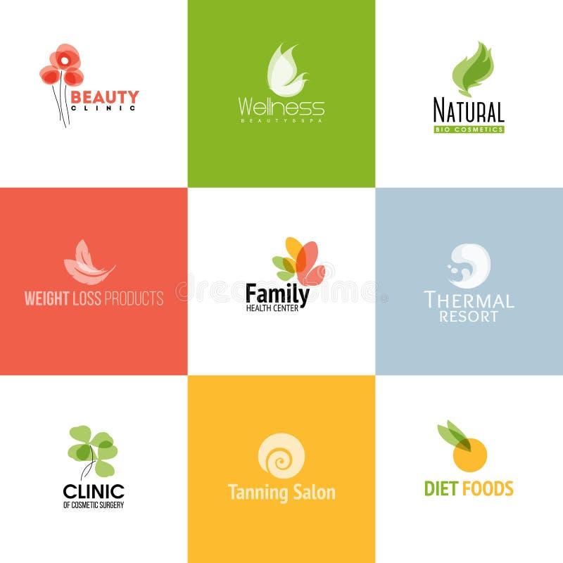 Sistema de plantillas y de iconos del logotipo de la belleza y de la naturaleza ilustración del vector