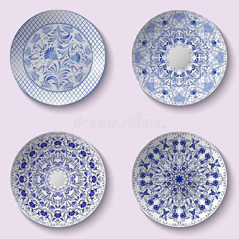 Sistema de platos de porcelana decorativos con el modelo étnico azul en el estilo de la pintura china en la porcelana ilustración del vector