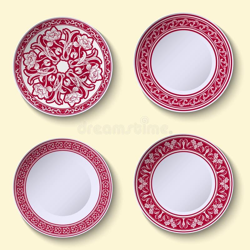 Sistema de platos de porcelana ornamentales con el modelo étnico rojo en el estilo de la pintura china en la porcelana stock de ilustración