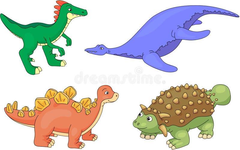Sistema de pliosaur, de stegosaurus, de ankylosaurus y de guanlong libre illustration