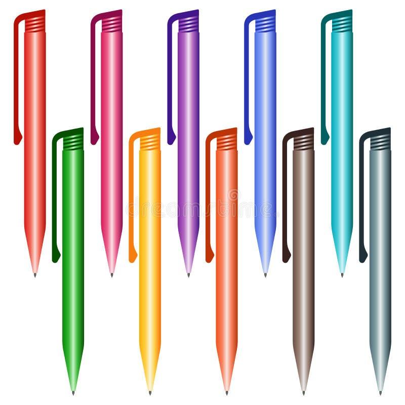 Sistema de plumas multicoloras en un fondo blanco libre illustration