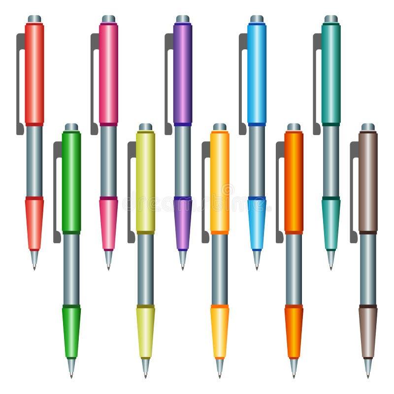 Sistema de plumas multicoloras en un fondo blanco stock de ilustración