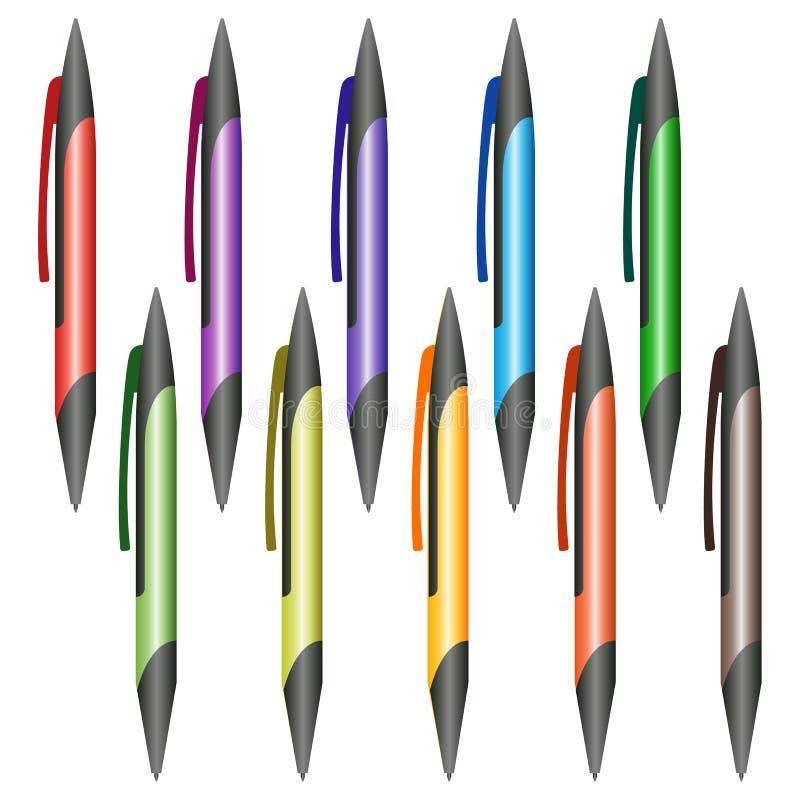 Sistema de plumas multicoloras en un fondo blanco ilustración del vector