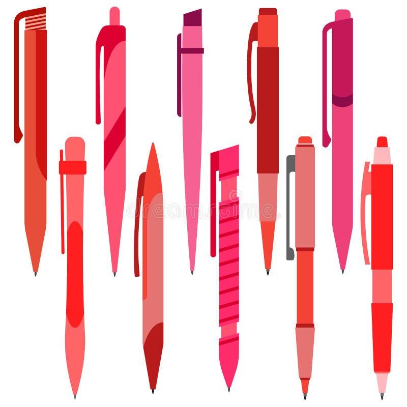Sistema de plumas rojas en un fondo blanco stock de ilustración