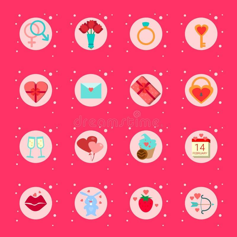 Sistema de presentes de los iconos del día de tarjetas del día de San Valentín, colección romántica de los elementos del día de f ilustración del vector
