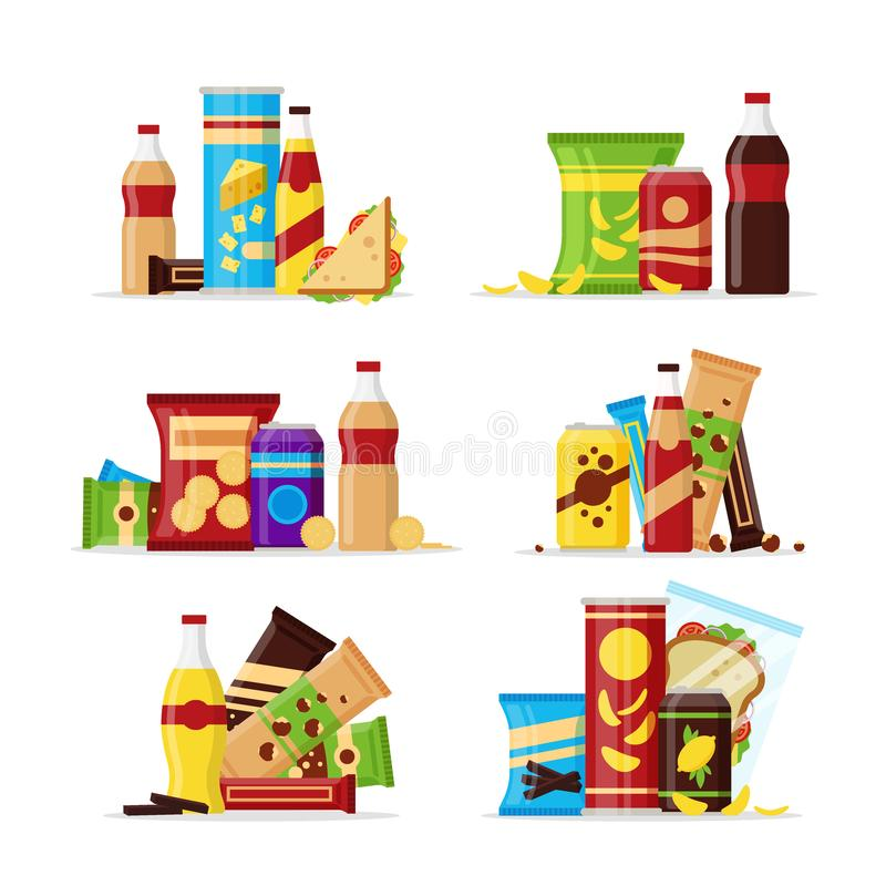 Sistema de producto del bocado, bocados de los alimentos de preparación rápida, bebidas, nueces, microprocesadores, galleta, jugo ilustración del vector