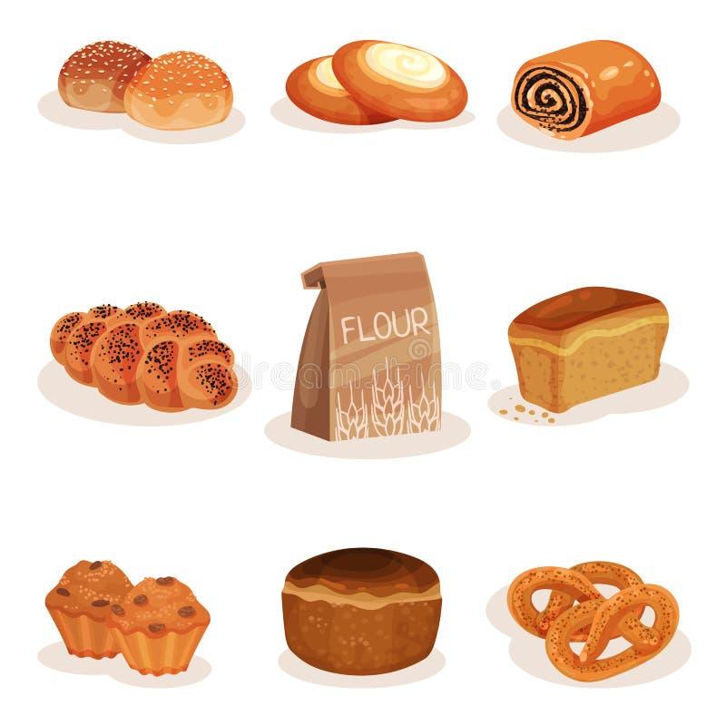 Sistema de productos cocido fresco del pan y de pasteles de la panadería, pan trenzado, bollo, pastel de queso, ejemplo del vecto ilustración del vector