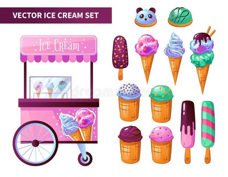 Sistema de productos del carro del helado stock de ilustración