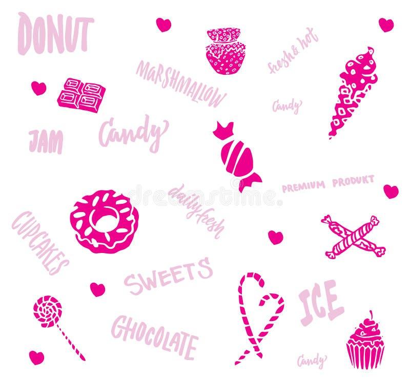 Sistema de productos dulce dibujado mano libre illustration