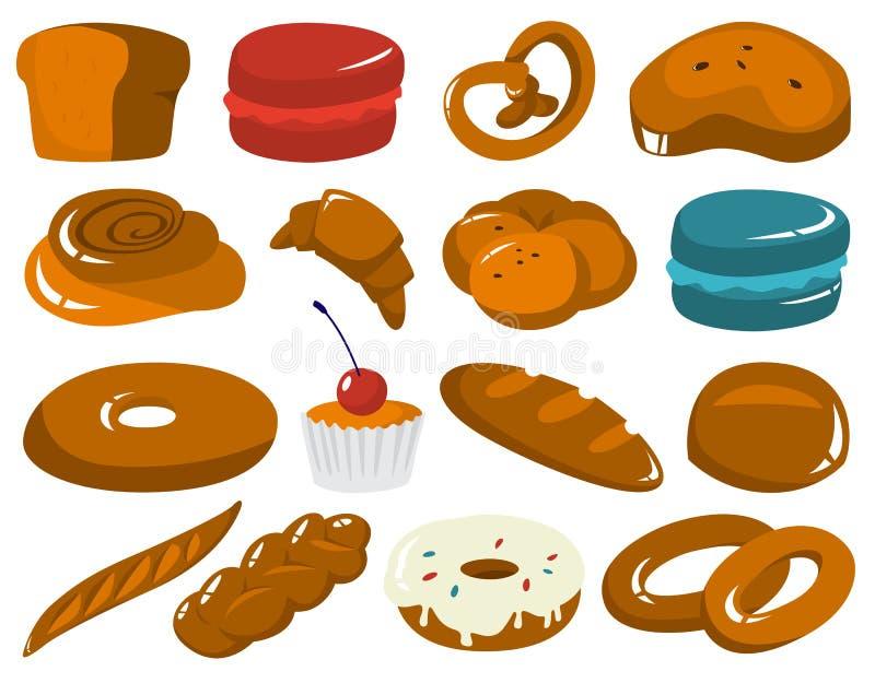 Sistema de productos frescos de la panadería Pan y galletas ilustración del vector