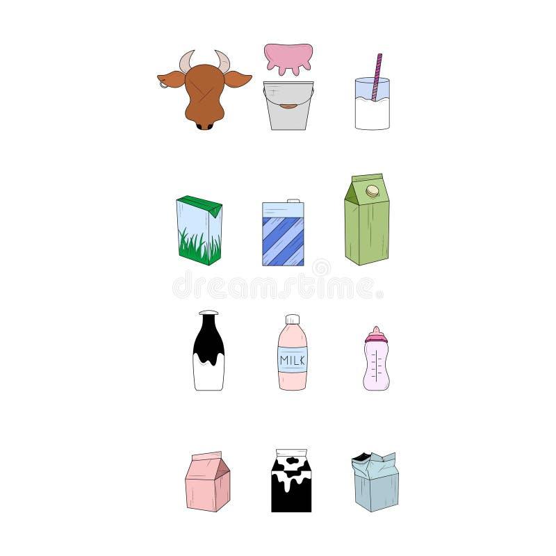 Sistema de productos l?cteos Iconos simples Ilustraci?n del vector libre illustration