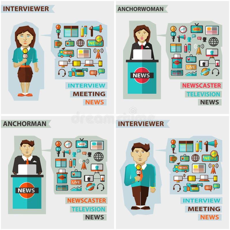 Sistema de profesiones Presentador estrella, entrevistador ilustración del vector