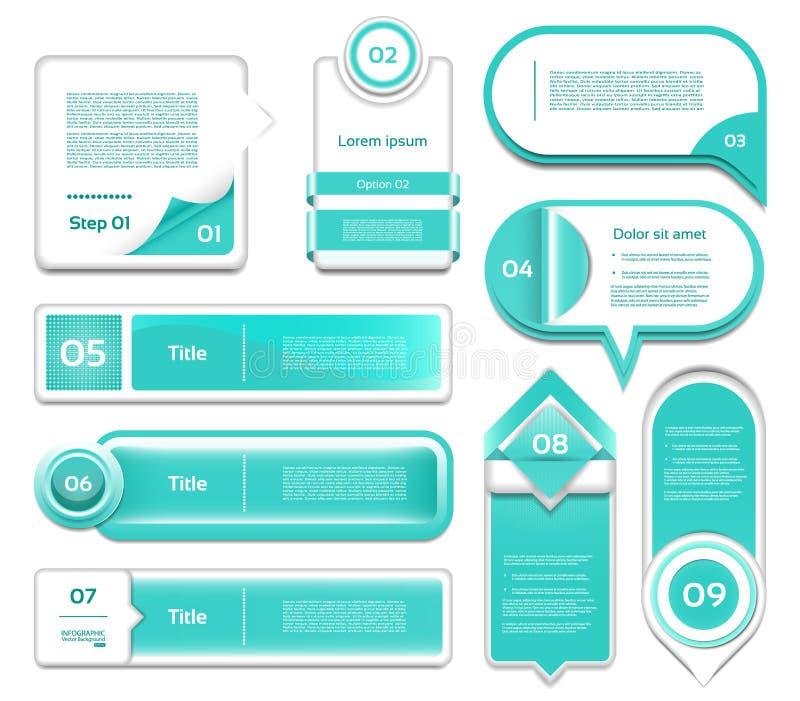Sistema de progreso del vector de la turquesa, versión, iconos del paso libre illustration