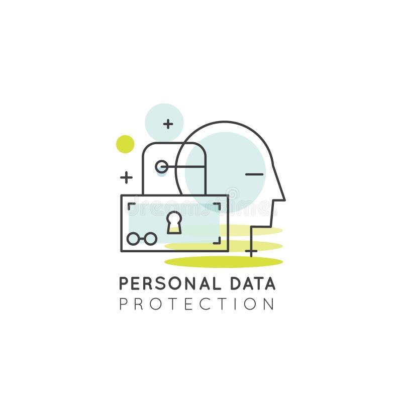 Sistema de proteção de dados, móbil e desenvolvimento de aplicação de desktop pessoais ilustração stock