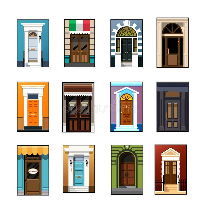 Sistema de puertas de entrada en un estilo plano libre illustration