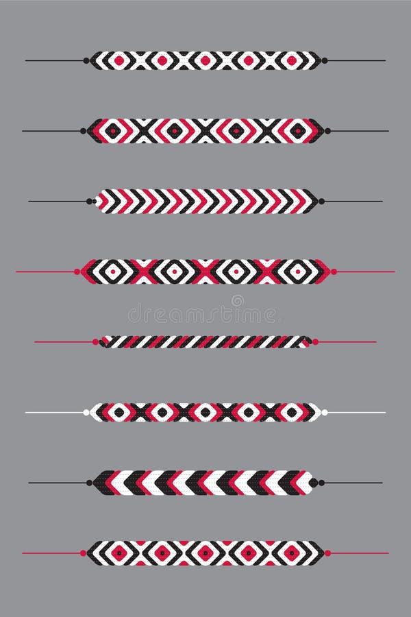 Sistema de pulseras del hippy de la amistad ilustración del vector