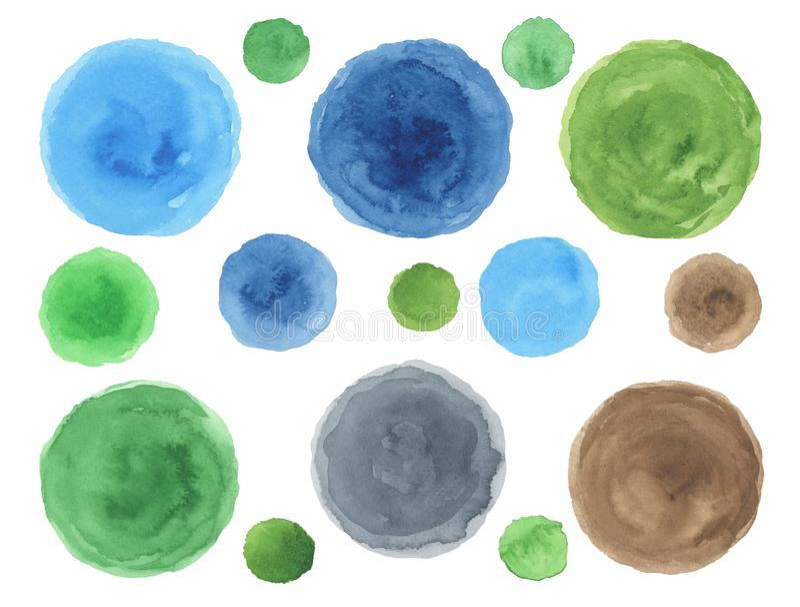 Sistema de puntos de la acuarela del verde azul ilustración del vector