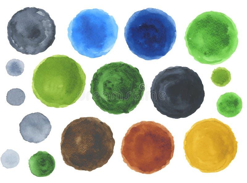 Sistema de puntos verdes marrones de la acuarela stock de ilustración