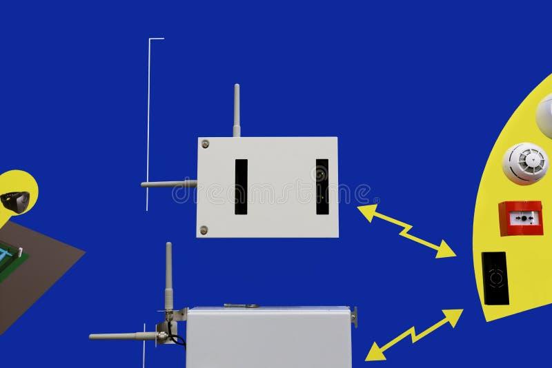Sistema de rádio para a segurança e o fogo fotografia de stock