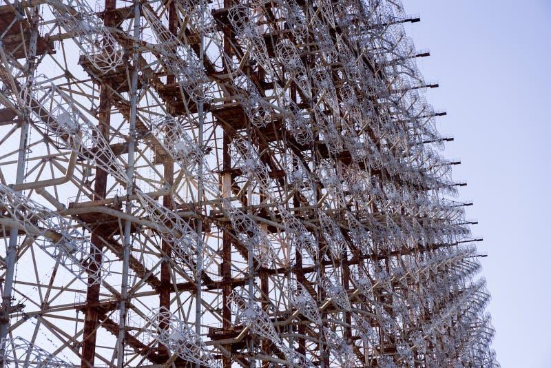 Sistema de radar soviético 'Duga' en la central nuclear de Chernobyl en la zona de exclusión de Chernobyl (Ucrania) fotos de archivo libres de regalías