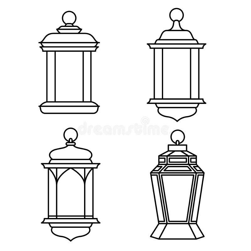 Sistema de Ramadan Lanterns-Vector Illustration ilustración del vector