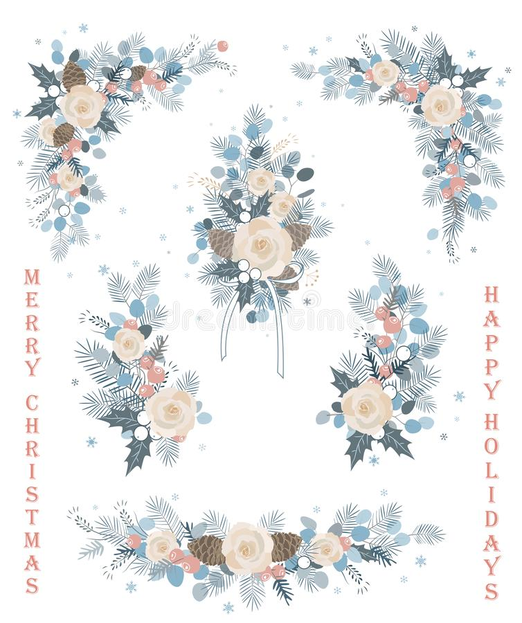 Sistema de ramas del vector de la Navidad, de flores, de flourishes, de guirnaldas y de esquinas florales, florecientes stock de ilustración