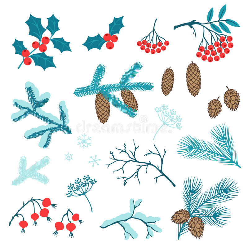 Sistema de ramas estilizadas del invierno de la Feliz Navidad libre illustration