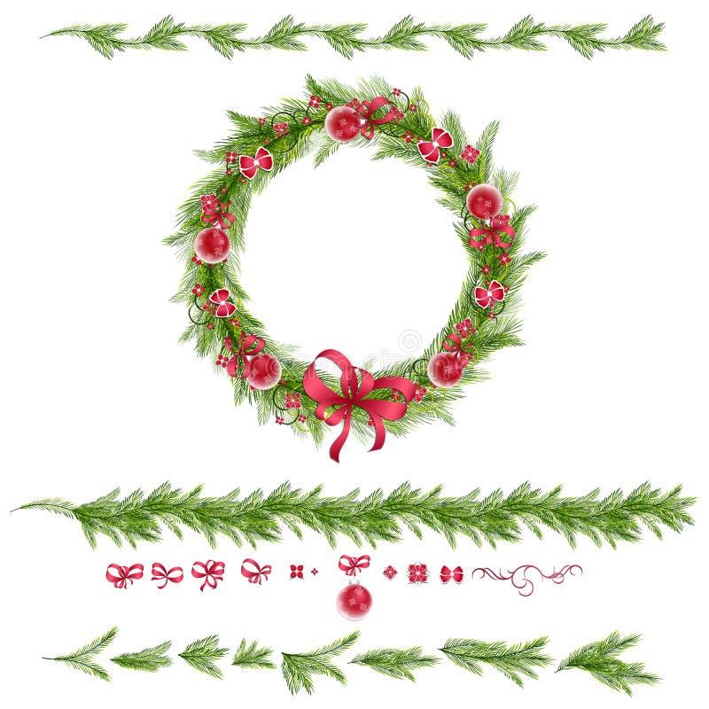 Sistema de ramitas del pino de la Navidad y de decoraciones del día de fiesta ilustración del vector