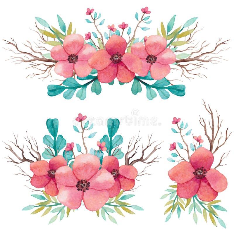 Sistema de ramos de la acuarela con las ramas y las flores rosadas stock de ilustración