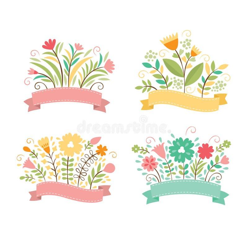 Sistema de ramos florales stock de ilustración