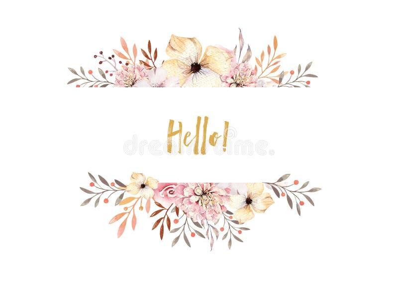 Sistema de ramos florales del boho de la acuarela Marco natural bohemio del Watercolour: hojas, plumas, flores, aisladas en blanc ilustración del vector