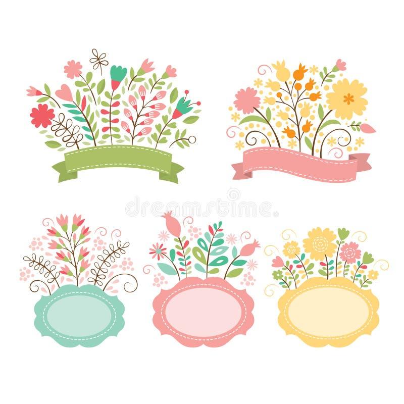 Sistema de ramos florales y de bastidores stock de ilustración