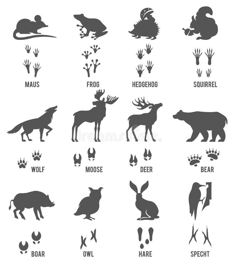 Sistema de rastros del animal y del pájaro stock de ilustración